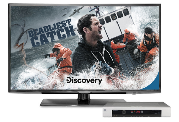 TV with DVR featuring the Discovery Channel show Deadliest Catch